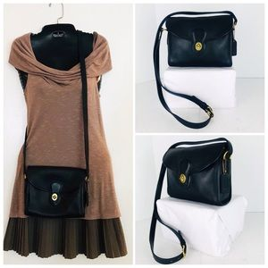 Coach Vintage Black Leather Devon Crossbody Bag